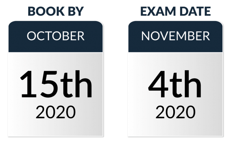 Book the ecaa exam by October 15th 2020, the exam date is on the 4th November 2020